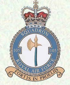 #105 Squadron formed at Andover as a day bomber unit on 14 Sept 1917, was redesignated as a Corps Reconnaissance unit in April 1918.From February 1949 until February 1957, was linked to #109 Sq. Initially bases at Benson, it was equipped with Argosies in the transport role, which it  took to Aden in June of that year, where it provided support to security forces in the region. With the run-down of forces in Aden, the  squadron moved to Bahrain in Aug 1967, disbanding there on 20 Jan 1968.