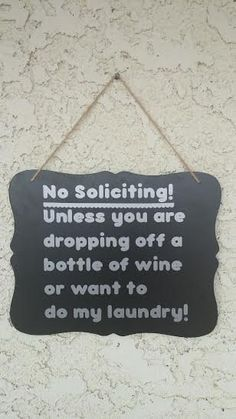 Tired of those pesky solicitors knocking our your door? Let them know they arent welcome with this cute sign! Sign is made with Vinyl on 8x10 wood #funnysigns