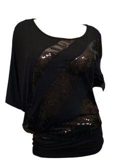 Amazon.com: Plus size Sequins Scoopneck Top Black: Clothing