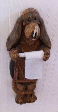 If you are looking for an elaborate toilet paper holder and love dogs -this might be for you. I have one, but he is on a stand, and I love him Funny Toilet Paper Holder, Stairway To Heaven, Fun Shots, Needful Things, Stairways, Wall Shelves, Paper Holders, Microsoft Excel, House Styles