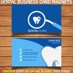 Dental business card magnets can be utilized by the dental services professionals to promote their services. Refrigerator dental business cards offer cost effective marketing solution to advertisers working within big and small budgets