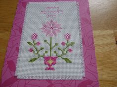 cross stitch Mother's Day card