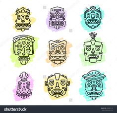 Vector illustration of set of ethnic tribal colorful masks isolated on white background. Hand drawn line art design.