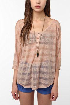 tela sheer henley blouse