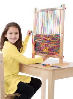 Youngsters will be thrilled to get creating with this Multi-Craft Weaving Loom. With its easy-to-use adjustable frame, oversize wooden needle and generous 91 yards of rainbow yarn, kids can choose to
