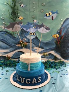Baby Shark Birthday Cakes First Party Themes 1st