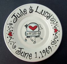 gift ideas painting pottery painting s wedding gift hands painting wed Hand Painted Plates, Painted Mugs, Decorative Plates, Painted Pottery, Sharpie Projects, Sharpie Crafts, Sharpie Plates, Ceramic Plates, Pottery Painting