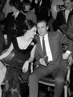 "Claudine Auger and Sean Connery at a party in 1965 to promote the film ""Thunderball"". Claudine, the former Miss France (1958), played the 'Bond girl' character Domino."