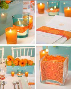 Colores para la mesa: turquesa y naranja