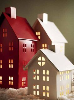 me ~ 21 Wooden House Light Christmas Decorations Christmas Paper, Christmas Home, Christmas Crafts, Christmas Ornaments, Christmas Brunch, Outdoor Christmas Decorations, Holiday Decor, Christmas Tablescapes, Tin House