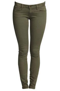 Ksubi jeans - Skinny Pinks in Fatigues Green - Khaki green stretch denim