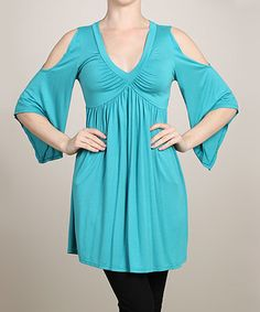 Loving this Turquoise Cutout V-Neck Tunic - Women on #zulily! #zulilyfinds