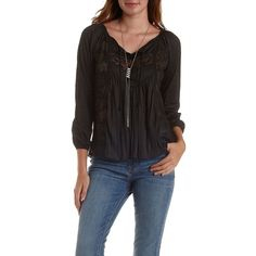 Charlotte Russe Black Embroidered Mesh & Jersey Knit Peasant Top by... ($22) ❤ liked on Polyvore