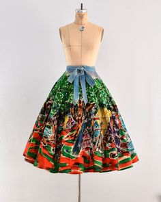 vintage 1950s skirt hand painted mexican skirt by PickledVintage