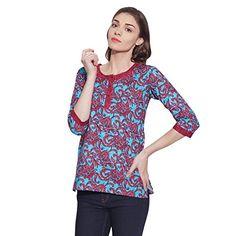 Womens Tunic Top 3/4 Sleeve Short Kurta Kurti Indian Ethnic Blouse Gift For Her - The Ultimate Shopping Portal