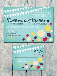 Colorful Beach Rocks  Wedding Invitation and Reply Card Set - Wedding Stationery. $1,35, via Etsy.