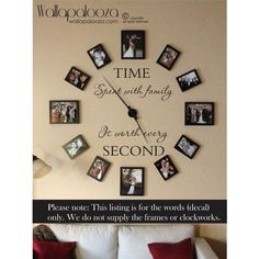 Time Spent With Family Is Worth Every Second Wall Decal Family Wall... ($15) ❤ liked on Polyvore featuring home, home decor, wall art, grey, home & living, home décor, wall décor, word wall decals, vinyl wall stickers and typography wall art