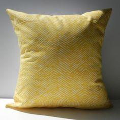 New 18x18 inch Designer Handmade Pillow Case yellow chevron pattern.