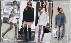 Идеальные образы с чем носить ботфорты, как выбрать ботфорты полным, с чем носить серые, черные, бордовые. Советы с чем не стоит носить ботфорты, примеры удачных образов с ботфортами