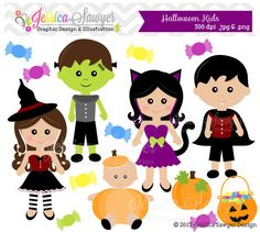 INSTANT DOWNLOAD, halloween kids clipart, witch clip art, for commercial use, personal use, invitations, digital scrapbooking