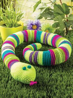 "Jake the Snake Crochet Pattern ~ intermediate level ~ measures 52""L x 2.5"" in diameter, excl. head ~ looks adorable even if he is supposed to be scary ~ PURCHASED pattern - CROCHET"