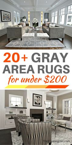 20+ Gray area rugs for under $200.  Best inexpensive gray area rugs and where to buy them.  TheFlooringGirl.com.