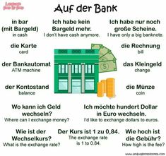 Auf der Bank = At the bank German Grammar, German Words, Welcome In German, Teaching French, Teaching Spanish, Spanish Activities, German Resources, Deutsch Language, Germany Language