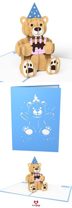 Gift a pop up birthday bear for your favorite loved one's birthday this year. Adorable pop up paper art is the perfect birthday surprise. #happybirthday