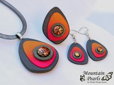 https://flic.kr/p/AVXVDx | Polymer clay necklace, earrings and ring | www.facebook.com/mountain.pearls