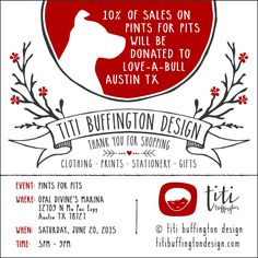 "DATE CHANGED due to TX storms: Now on June 20th! --- I'll be setting up a little spot on Pints for Pits ""Hope for the Future"". And 10% of sales from my shop during Pints for Pits will be donated to Love-A-Bull. So see ya'll soon... bring your pups!  p.s: Major credit cards accepted.  #titibuffingtondesign #shopforacause #pitbull #pintsforpits #clothing #stationery #gifts #prints #papergoods #tshirts #totebags #decals #greetingcards #loveabull #gifttags #lettering"