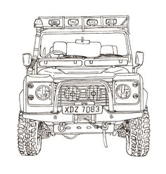 A collection of ink and watercolour line drawings of Land Rover Vehicles. Defender 90, Land Rover Defender 110, Best 4x4, Lifted Ford Trucks, Car Sketch, Jeep Wrangler Unlimited, Toyota Land Cruiser, Concept Cars, Landing