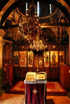 interior of old orthodox church in Serbia, in Saint Roman Monastery