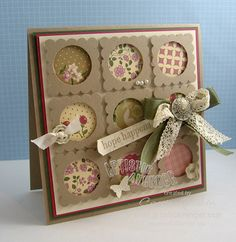 This card is a 5″ x 5″ square and the base is Crumb Cake and then layered with Always Artichoke, Rose Red and then Very Vanilla. On the Very Vanilla layer, 1-1/4″ circles of Springtime Vintage designer paper was added and then over it Crumb Cake scalloped squares in which the center was punched out with a 1″ circle punch.  Little embellishments were added here and there and a great bow made with Victorian Crochet trim and Always Artichoke seam binding.  It was kept together with an Antique…