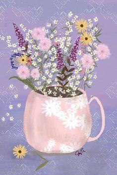 Canvas Artwork, Canvas Prints, Art Prints, Bright Flowers, Wild Flowers, Garden Illustration, Illustrations, Cute Art, Still Life