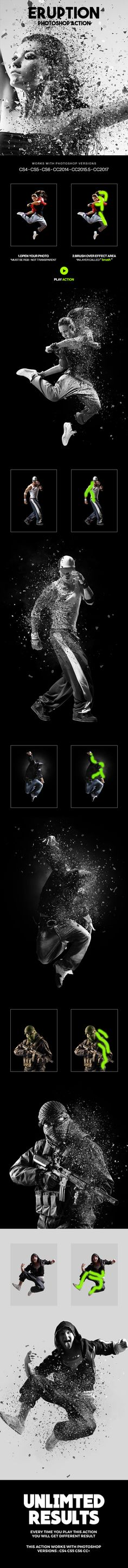 Eruption Photoshop Action — Photoshop ATN #photoshop #artistic • Download ➝ https://graphicriver.net/item/eruption-photoshop-action/20164559?ref=pxcr