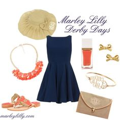 """""""Coral and Navy Derby Days"""" by marleylilly on Polyvore"""