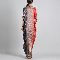 V-Neck Silk Floral Long Sleeve Cross Patchwork Maxi Dresses - Wonder She Day Dresses, Summer Dresses, Stitching Dresses, Fashion Silhouette, Mode Hijab, White Long Sleeve, Purple Dress, Hijab Fashion, Women's Fashion