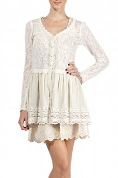 Long Sleeve Button Down Lace Cardigan
