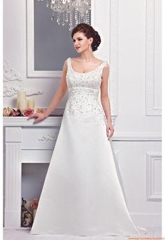 Scoop-neck A-linie Schlichte Preiswerte Elegante Brautkleider aus Satin