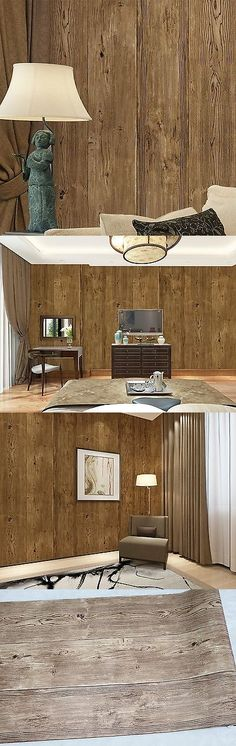Other Wallpaper 52348: Haokhome 0204 Vintage Woods Plank Wallpaper Roll Brown 3D Tree Realistic Wall... -> BUY IT NOW ONLY: $48.29 on eBay!