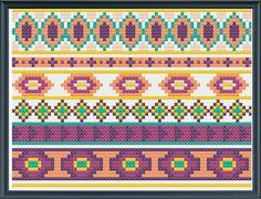 cross stitch borders pattern aztec inspired PDF by Happinesst Tiny Cross Stitch, Free Cross Stitch Charts, Cross Stitch Letters, Cross Stitch Bookmarks, Cross Stitch Borders, Cross Stitch Flowers, Modern Cross Stitch, Cross Stitch Kits, Cross Stitching
