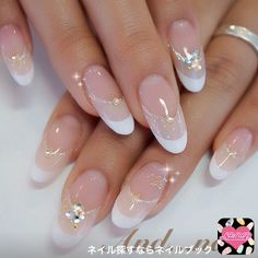 Bridal Nails French Oval Ideas For 2019 Bridal Nails French, Bridal Nail Art, French Nails, Classy Nail Designs, French Nail Designs, Nail Art Designs, Classy Nails, Stylish Nails, Cute Nails