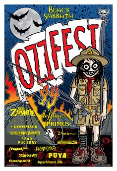 This poster was created by Gregg Gordon / GIGART for Ozzy Osbourne's Ozzfest 1999. The festival featured these bands: Black Sabbath, Rob Zombie, Slayer, Deftones, Primus, Godsmack, System Of A Down, Drain, Fear Factory, (Hed)pe Static X, Pushmonkey, Slipknot, Puya, Flashpoint, and Appartment 26.  Size: 13 x 19 inch / Litho