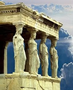 The Porch of the Caryatids in the Erechtheion (Greek: Ἐρέχθειον), on the north side of the Acropolis of Athens in Greece Dedicated to both Athena and Poseidon. Built between 421 and 406 BC.