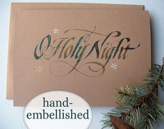 Calligraphy Christmas, Calligraphy Cards, Christmas Paper Crafts, Handmade Christmas, Christmas Cards, Caligraphy Alphabet, O Holy Night, Types Of Lettering, Beautiful Handmade Cards