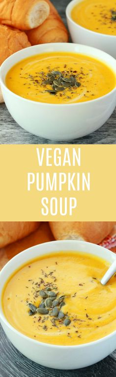 Super creamy vegan pumpkin soup. This rich and satisfying soup is made with coconut cream and spices for a simply delicious appetizer. Ready in 30-minutes! | lovingtivegan.com