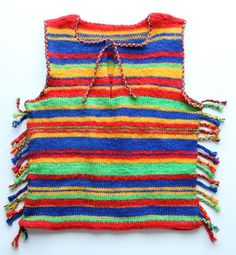 Colourful knitted top with tassels. I made this as a teenager and it was pictured in the Finnish fashion magazine Muoti+ in 1978 :)