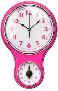 Premier Housewares Wall Clock with Timer Dial - Hot Pink