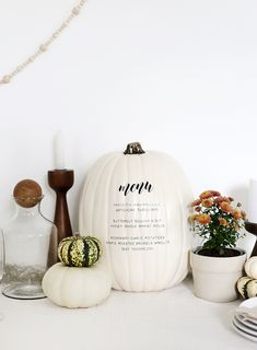 DIY menu pumpkin for Thanksgiving or fall dinner parties Thanksgiving Side Dishes, Thanksgiving Crafts, Thanksgiving Decorations, Fall Crafts, Thanksgiving Parties, Diy Crafts, Whole Wheat Rolls, Roasted Sprouts, Do It Yourself Home