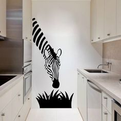 Zebra Wall Decal Cute Vinyl Sticker Home Arts Animal Wall Decals Decor Africa Pattern WT052